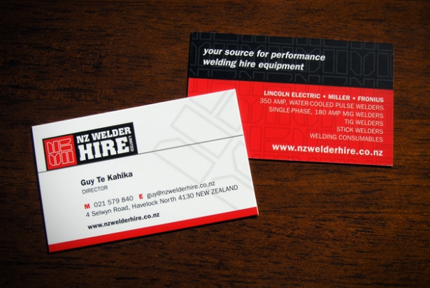 NZ Welder Hire business cards